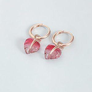Pink Murano Glass Leaf Hoop Earrings